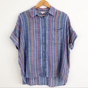 Anthropologie Em Creme Striped Button Down Shirt